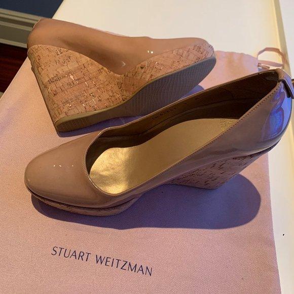 Stuart Weitzman Patent Leather Corkswoon Wedge